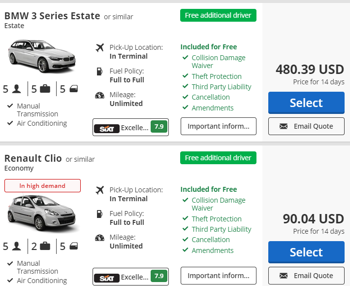 car hire with free additional driver